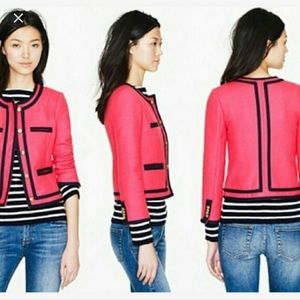 J. Crew 100% Wool Pink Lady Jacket With Blue Trim